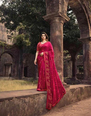 Attractive Pink Color Rangoli Foil Print Saree With Blouse