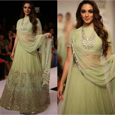 Kiara Advani Pista Green Georgette Embroidery Lehenga Choli