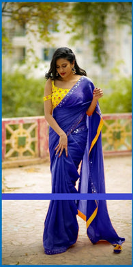 Attractive Blue Rangoli Embroidery + Mirror Work Saree With Blouse
