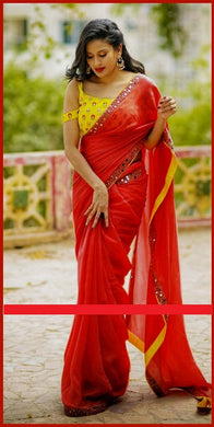 Attractive Red Color Embroidery + Mirror Work Rangoli Saree With Blouse