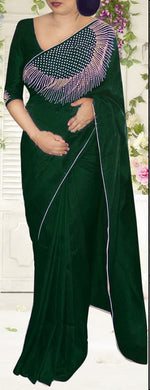Awesome Green Color Rajwadi Silk Stone Work Saree With Blouse
