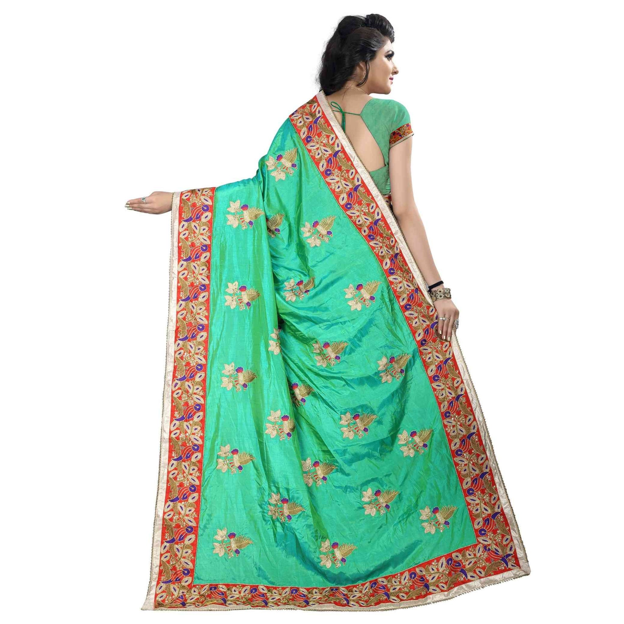 1a97cbb26dd ... Bollywood Style Designer Heavy Two Tone Silk With Designer Less Border  Saree With Designer Blouse