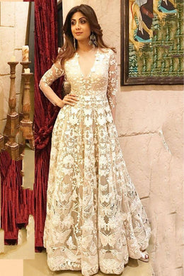 Bollywood Style Designer Anarkali White Colore Gown