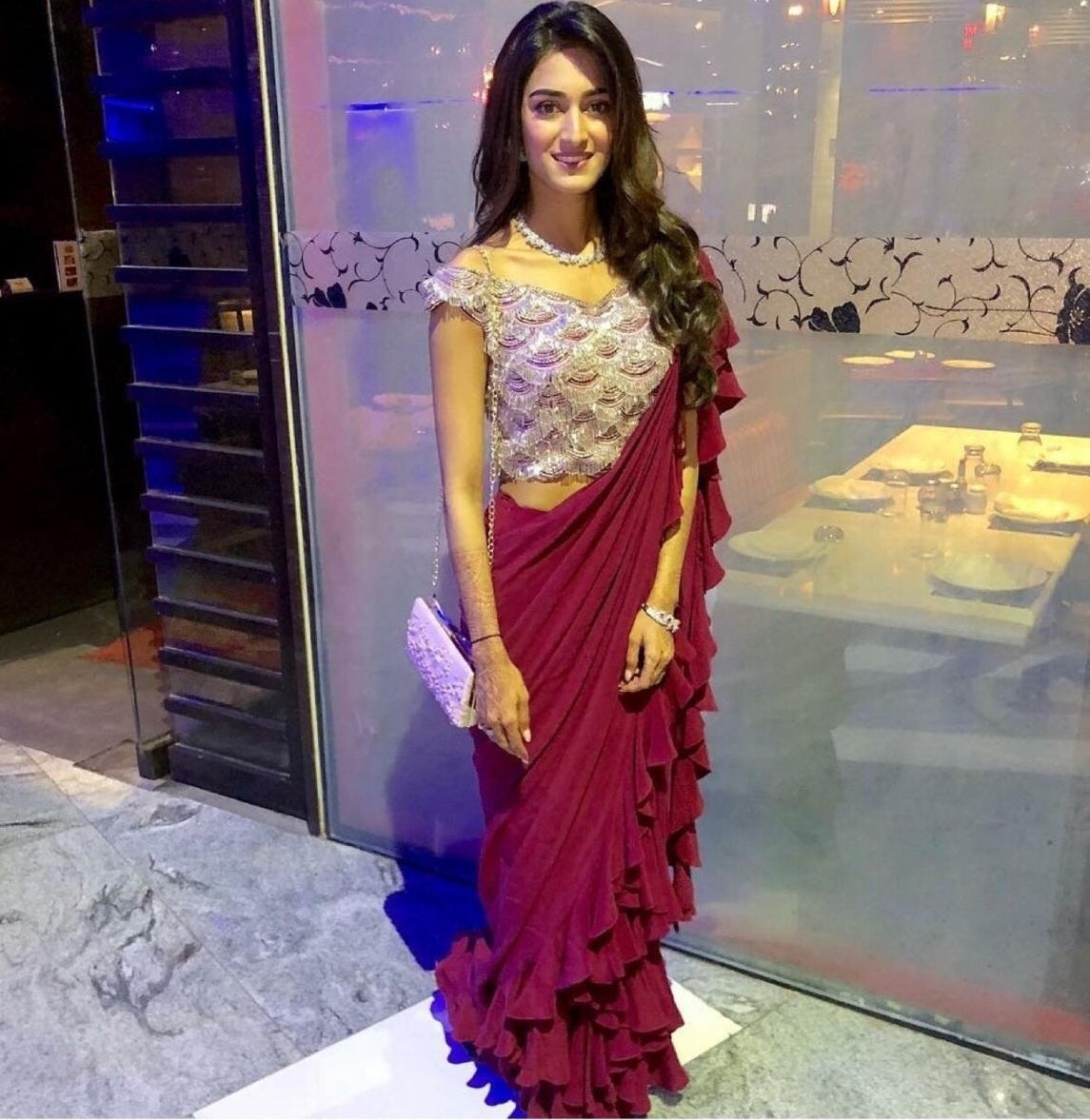 13192ce5d1d3f6 Wine Colour Beautiful Erica Fernandes Plain Ruffle Saree On Premium Georgette  Fabric And Seque ...