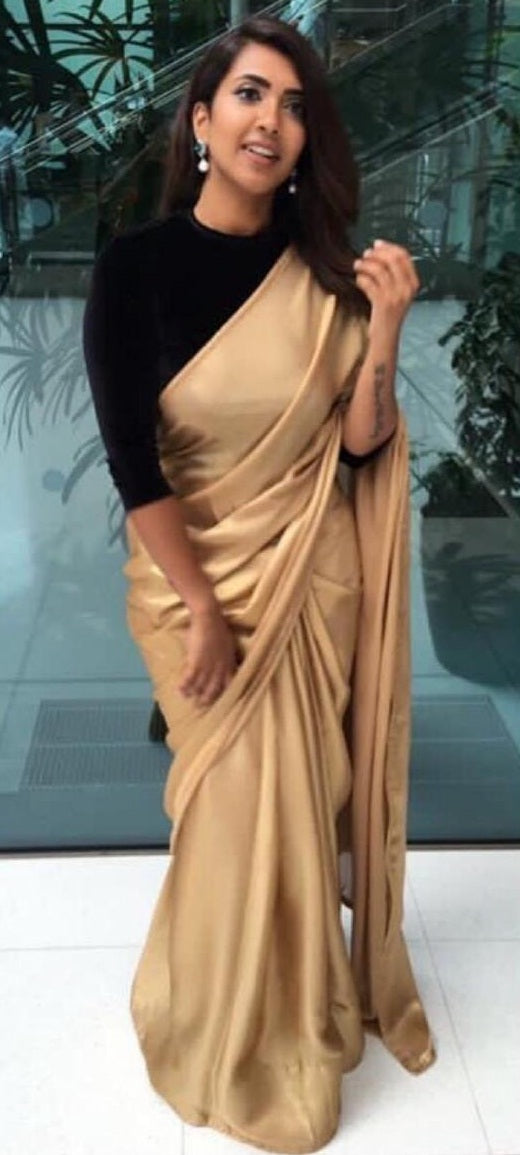 7196daceceb548 Bollywood Style Designer Combination Plain Gold Saree With Black Velvet  Blouse ...