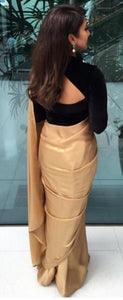 Bollywood Style Designer Combination Plain Gold Saree With Black Velvet Blouse