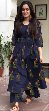 Attractive Designer Women's Heavy Camric Cotton Printed Kurti With Plazzo