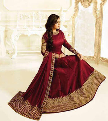 Atractive Bollywood Style Designer Taffeta Silk With Embroidery Coding Work Anarkali Dress