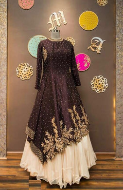 Atractive Bollywood Style Designer Satine Benglori Top With Embroidery Work Indo Western Lahenga