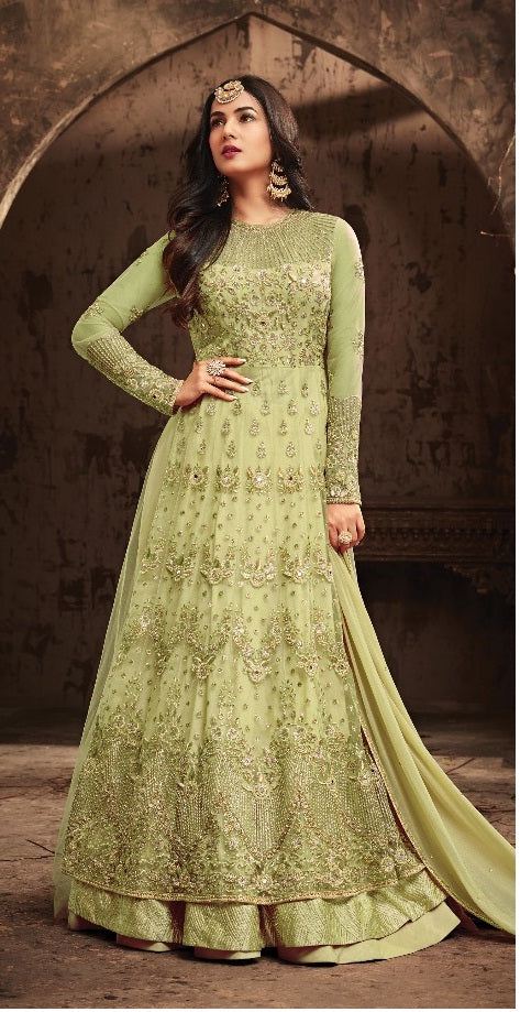 61180fda12 Bollywood Style Designer Heavy Net With Embroidery Work Anarkali Dress With Party  Wear ...