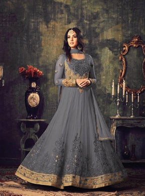 New Stylish Heavy Net With Embroidery Work Anarkali Style Salwar Suit With Designer Stone Work