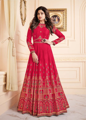 Atractive Bollywood Style Designer Heavy Melbourne Silk With Chain Stich Work Anarkali