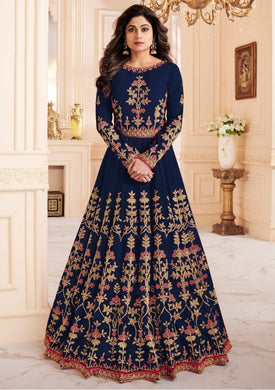 Atractive Bollywood Style Designer Heavy Melbourne Silk With Embroidery Work Salwar Suit
