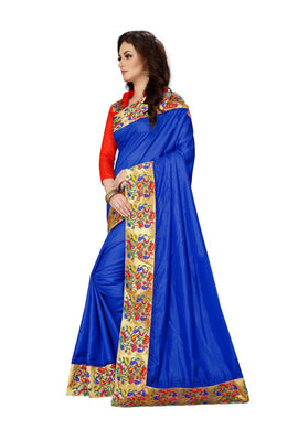 Atrective Designer Paper Silk With Viscos Jecard Lace Border Saree With Blouse