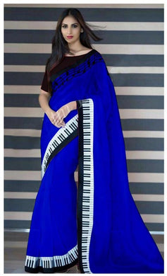 Atrective Designer Chanderi Silk With Embroidery Design Work Saree With Blouse