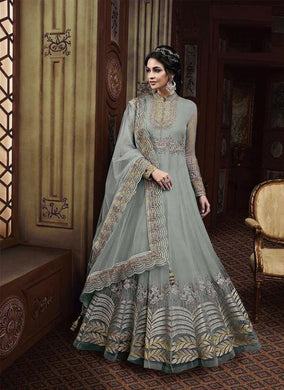 Grey Colore New Pakistani Style Anarkali Designer Dress Embroidery Work Anarkali Long Dress