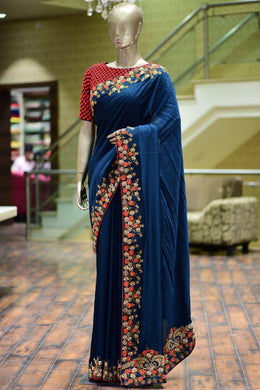 Atrective Designer Sana Silk With Heavy Embroidery Work Saree With Blouse