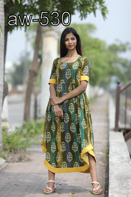 Attractive Designer Women's Heavy Cotton Printed Long Kurti