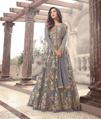 Grey Colore New Arrival Pakistani Style Designer Dress Designer Salwar Kameez Anarkali Dress Embr