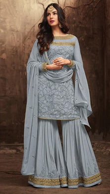 Grey Colore New Pakistani Style Anarkali Designer Dress Embroidery Work Salwar Suit