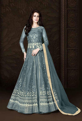 Grey Colore New Pakistani Style Designer Dress Embroidery Work Salwar Suit