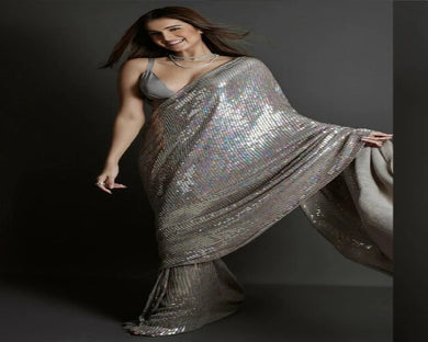 Grey Colore Full Sequence Work Bollywood Star Tara Sutariya Georgette Saree
