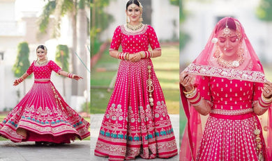 Red Colore Bollywood Style Wedding Wear Designer Lahenga Choli Whith Embroidery Work