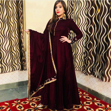 Wine Color Bollywood Style Salwar Kameez Dupatta With Embroydury Workr Party Wear Kurti
