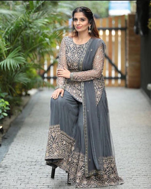 Gray Color Bollywood Style Desiner Wedding Wear Embroidery Work Salwar Kamiz Dupatta