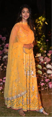 Yellow Color Bollywood Style Salwar Kameez Dupatta With Embroydury Workr Party Wear Salwar Kameez