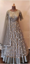 Gray Color Bollywood Style Gown With Embroydury Workr Party Wear Gown