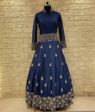 Blue Colore Bollwood Style Wedding Wear Hevy Embroidery Work Gown