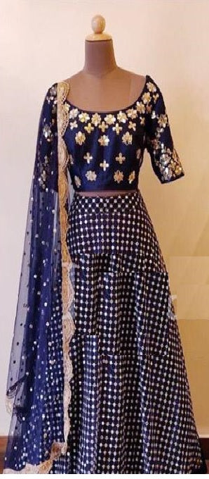 Blue Colore Bollywood Style Designer Embroidery Work With Wedding Wear Lahenga Choli