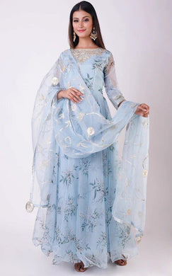 Sky Blue Color Bollywood Style Desiner Wedding Wear Embroidery Worksalwar Dupatta
