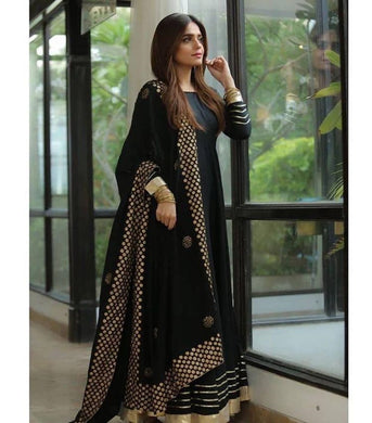Blackcolor Bollywood Style Salwar Kameez Dupatta With Embroydury Workr Party Wear Salwar Kameez D
