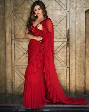 Red Colore Bollywood Style Wedding Wear Designer Saree With Ruffly