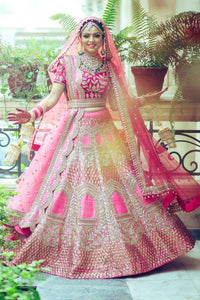 Pink Bridal Heavy Embroidery Lehenga Choli In Heavy Satineen Quality Is Worth Paying