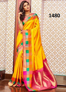New Trendy Latest Multicolor Soft And Smooth Golden Zari Digital Print Saree