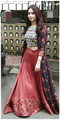 Heavy Multi Color Taffeta Silk Lehenga And Masleen Top With Digital Printed Gown