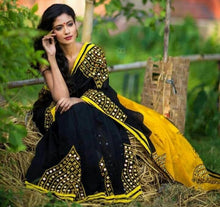 Attractive Black Georgette With Plastic Mirral And Embroidered Work Saree
