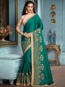 Attractive Green Georgette With Embroidered Work And Fency Les Saree