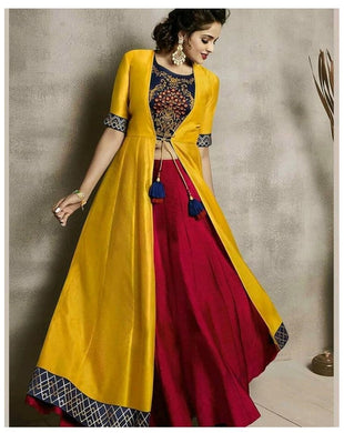 Super Bollywood New Western Style Yellow Printed Designer Kurti