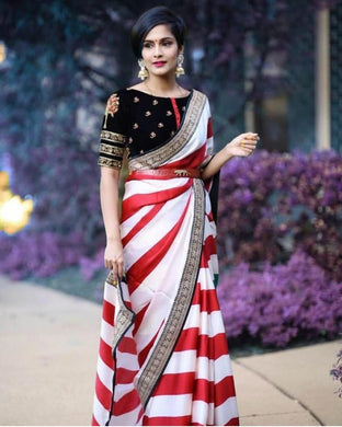 Multi-colour New Trendy Latest Georgette Saree With Embroidery Lace And Designor Blouse.