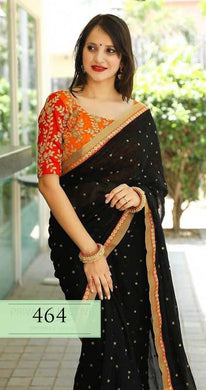 Black Colour New Trendy Latest Georgette Saree With Emb. Lace And Designor Blouse.