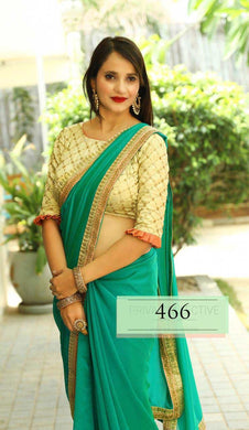C-green New Trendy Latest Rangoli Silk Saree With Emb. Lace And Designor Blouse.
