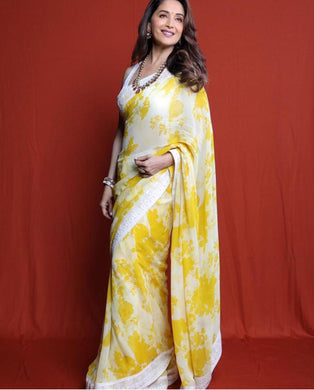 White Colour Madhuri New Trendy Latest Georgette Pure Digital Printed Saree With Blouse.