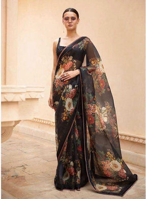 Black Colour Floral New Trendy Lattest Collection Soft And Smooth Orgenza Digital Print Saree