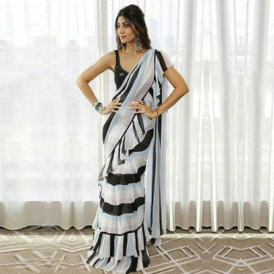 New Indian Designer Embroidery Stunning Black And White Ruffle Saree With Designor Blouse