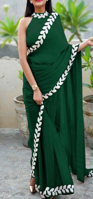 Green New Trendy Lattest Collection Soft And Smooth Vichitra Silk Embroidery Saree With Blouse