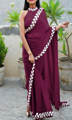 Magento New Trendy Lattest Collection Soft And Smooth Vichitra Silk Embroidery Saree With Blouse